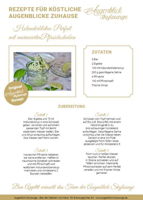 Augenblick-Skylounge-Kleve_Holunderblüten-Parfait mit marienierten Pfirsichscheiben