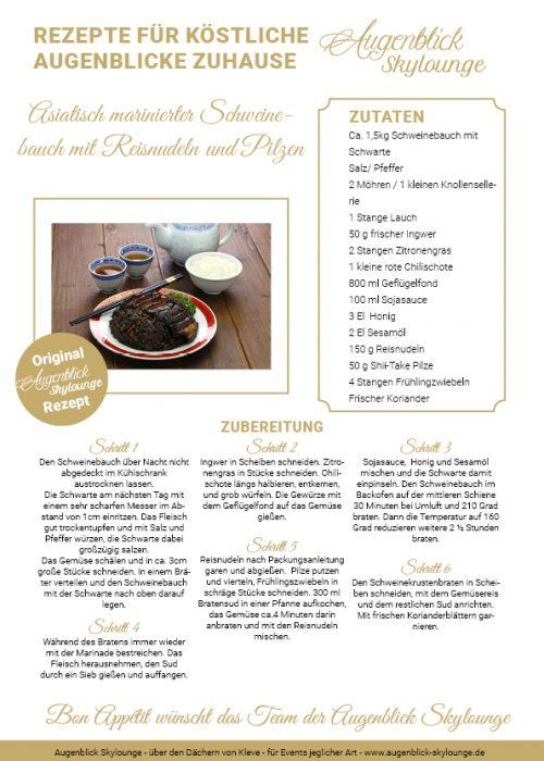 Augenblick_Skylounge_Kleve_Rezepte_Asiatisch marinierter Schweinebauch mit Reisnudeln und Pilzen