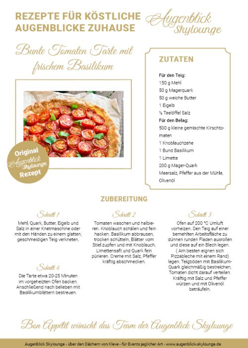 Augenblick_Skylounge_Kleve_Rezepte_Bunte Tomaten Tarte mit frischem Basilikum